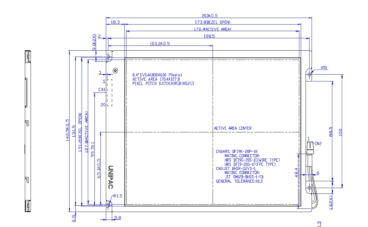 B084SN03, 8.4 inch SVGA Color TFT LCD Module, This specification